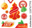Set of Christmas labels and ornaments - stock vector
