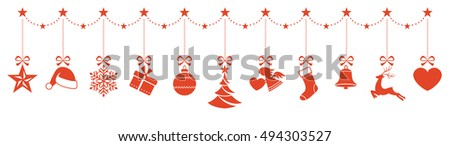 Set of Christmas ornaments hanging from a star border and forming a header for any Christmas design.