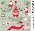 Set of Christmas scrapbook vector elements - stock vector