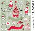Set of Christmas scrapbook vector elements - stock vector