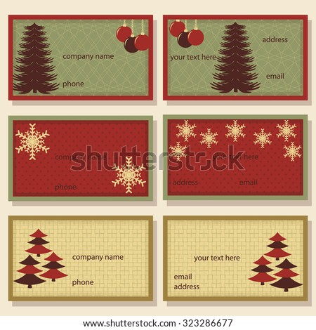 set of Christmas vector templates for invitations, business cards