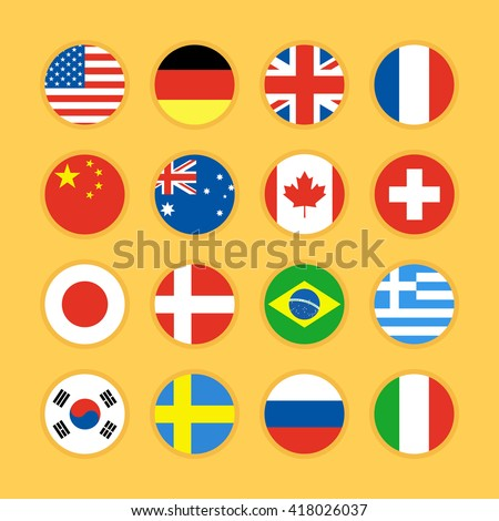 Set of circle flag icons flat design vector illustration