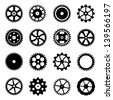Set of cogwheels (gear wheels) isolated on white background. Vector illustration. - stock photo