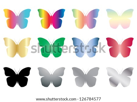 set of color and black butterflies vector illustration