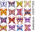Set of Color Butterflies on White Background, Vector Version - stock