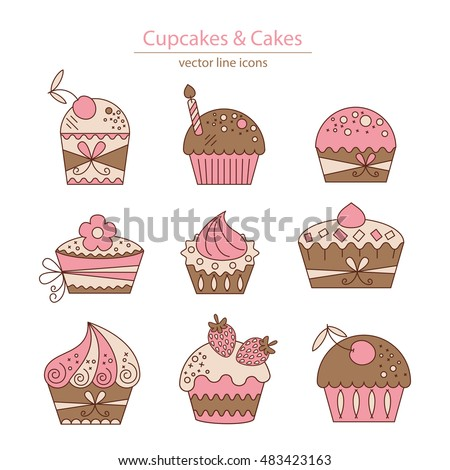 Set of color cupcakes and cakes icons. Isolated on white. Logos set