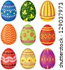 Set of color painted Easter eggs. Vector illustration. No transparency. - stock photo