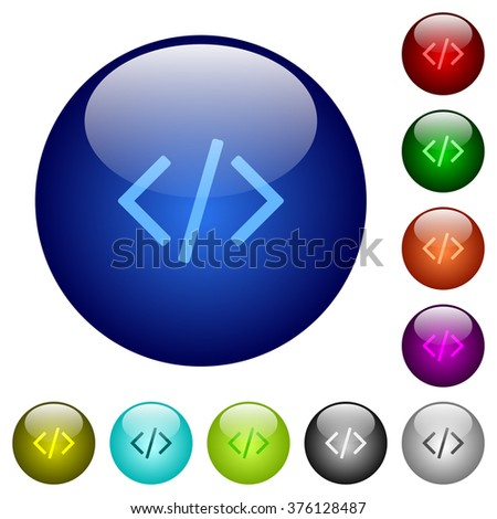 Set of color programming code glass web buttons.7