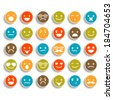 Set of color smiley icons  - stock