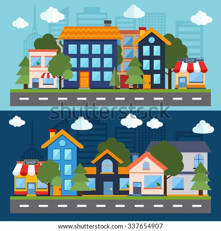 Set of color urban landscape and city life banners. Flat design modern vector illustration icons set of factory landscape and city life. Building icon
