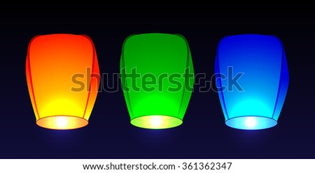 Set of colored air flashlights