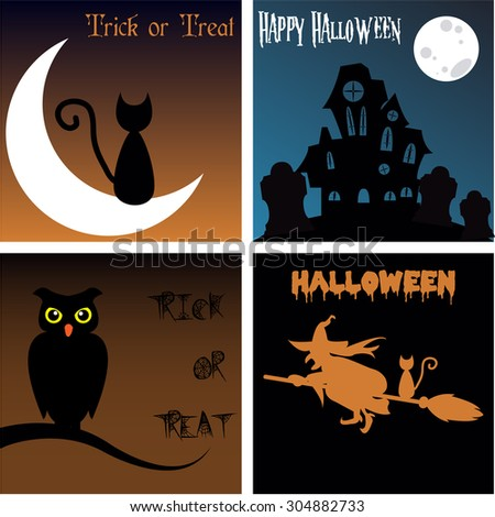Set of colored backgrounds with text and traditional elements for Halloween. Vector illustration