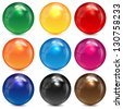 set of colored spheres on a white background - stock vector