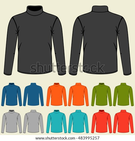 Set of colored turtlenecks templates for men.