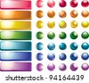 set of colored web buttons and spheres - stock vector