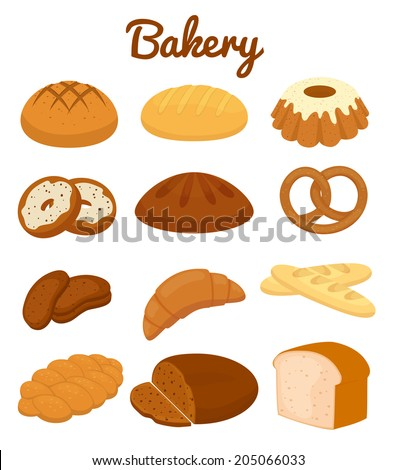 Set of colorful bakery icons depicting pretzels  muffins  loaves of bread  bagel  croissants  cakes and donuts  vector clipart illustration on white