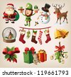 Set of colorful christmas characters and decorations - stock photo