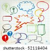 Set of colorful doodle speech bubbles on chequered paper - stock photo