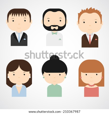 Set of colorful elegant successful people icons. Men and women in beautiful clothes. Trendy flat style. Funny cartoon characters. Vector illustration.