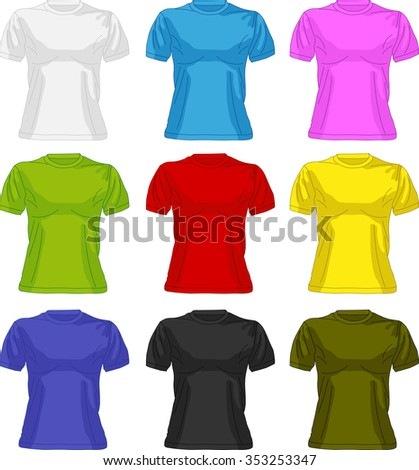 Set of colorful female t-shirts
