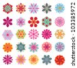 Set of colorful flower icons - stock vector
