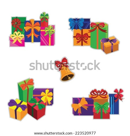 Set of colorful gift boxes. Vector illustration