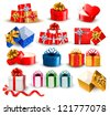 Set of colorful gift boxes with bows and ribbons. Vector illustration. - stock vector