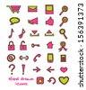 Set of colorful hand drawn icons isolated on white background. Vector illustration. - stock vector