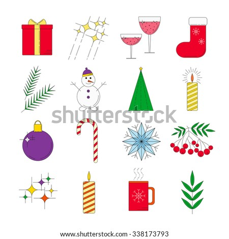 Set of colorful linear icons for Christmas holidays.