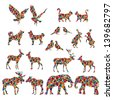 Set of colorful lovely animal lovers couples silhouette: deers, owls, pigeons, elephants, moose, roes, hares, birds, cats, dogs. - stock