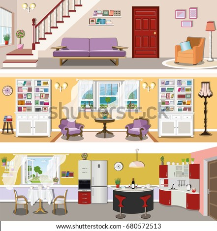 Set Of Colorful Modern Vector Interior Design House Rooms With Furniture Icons