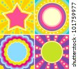 Set of colorful posters in the music style of disco - stock vector