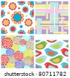 Set of colorful seamless patterns - stock vector