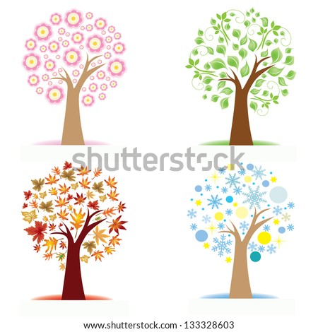 Set of Colorful Season Tree icons, vector illustration