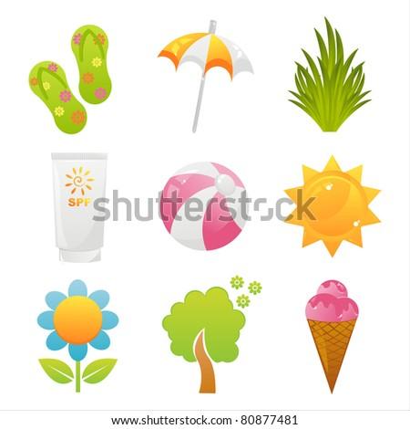summer icon set vector illustration stock vector 289237082