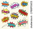 Set of Comic Text, Pop Art style. - stock vector