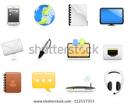 Set of 12 communication/contact icons. Fully editable vector graphics.