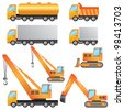 Set of construction machinery on the white background. - stock vector