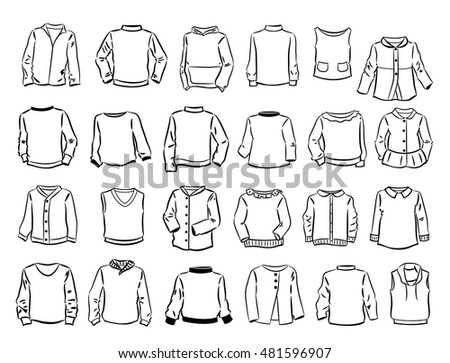 Set of contours of sweaters for children