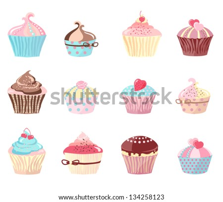 Set of cupcakes isolated on white. Vector