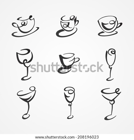 set of cups and glasses