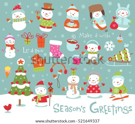 Set of cute and funny snowmen for banners, backgrounds, decorations.