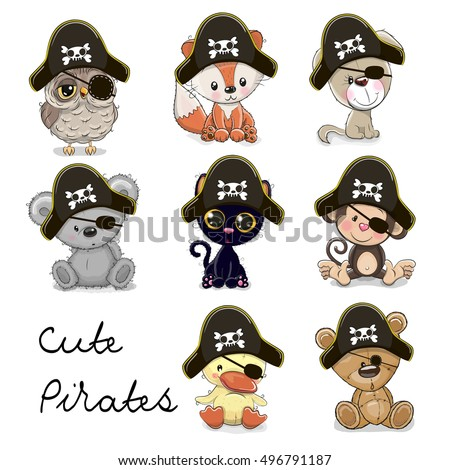 Set of Cute Animals in a pirate hats