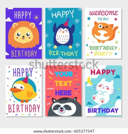Cute Happy Birthday Greeting Card Child Vector 575707252 – Funny Happy Birthday Greeting Cards