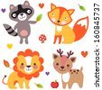 Set of cute animals: raccoon, fox, lion, deer. Doodle. Vector illustration. Cartoon - stock vector