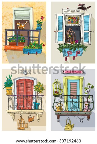 set of cute balconies - cartoon