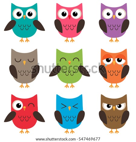 Set of cute cartoon colorful owls with various emotions