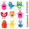 set of cute cartoon monsters. vector illustration - stock vector