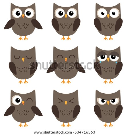Set of cute cartoon owls with various emotions