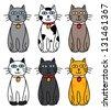 set of cute cat cartoon - stock vector